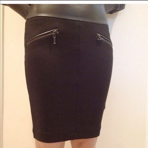 NWT Zara Black Pencil Skirt w/ faux leather
